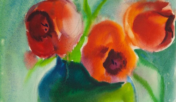 Тюльпани, 45,5х35,5 папір/акварель