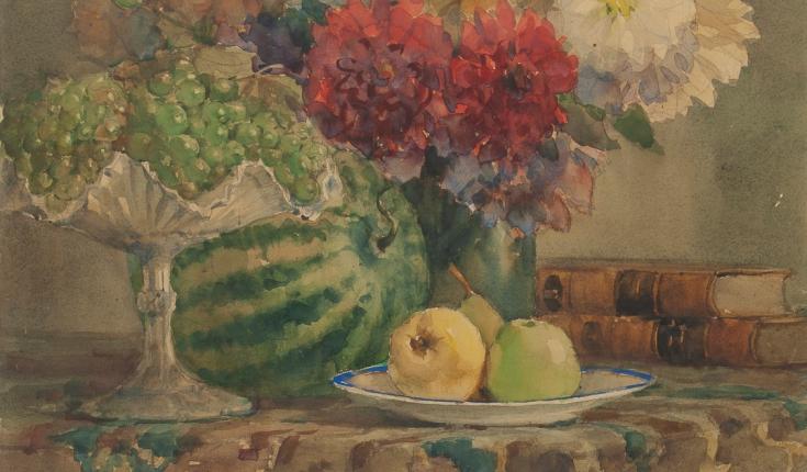 Жоржини і виноград, 79,5х59 папір/акварель