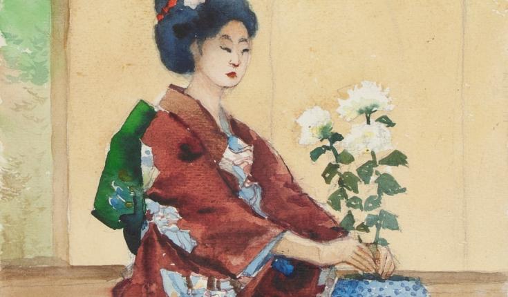 Японка з білими хризантемами,32х24 папір/акварель