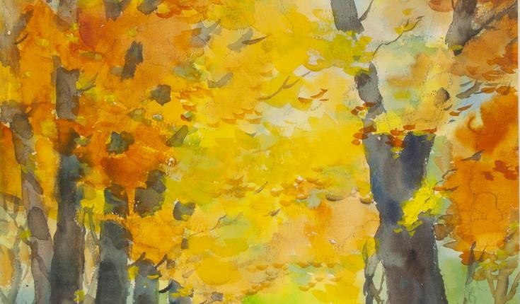Осінній пейзаж, 46,5х35 папір/акварель