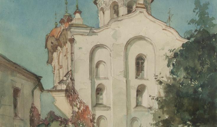 Пам'ятник архітектури Надвратна церква 12 ст, 42х30,5 папір/акварель