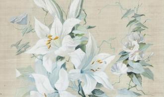 White lilies and birch, 43x30 Silk / gouache