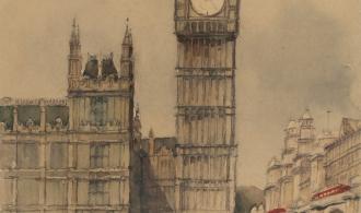 Лондон, 50х39,5 папір/акварель